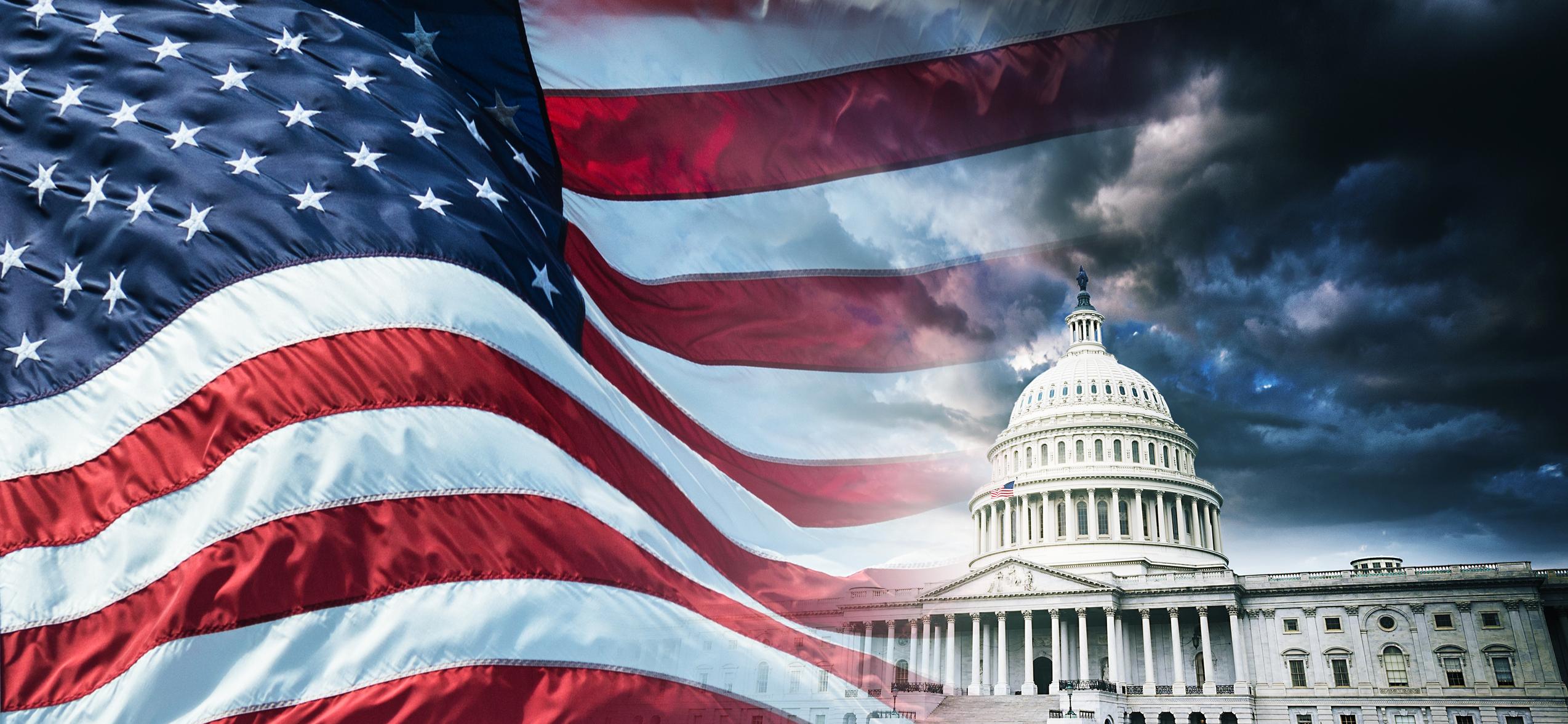 Det Hvite Hus og det amerikanske flagget